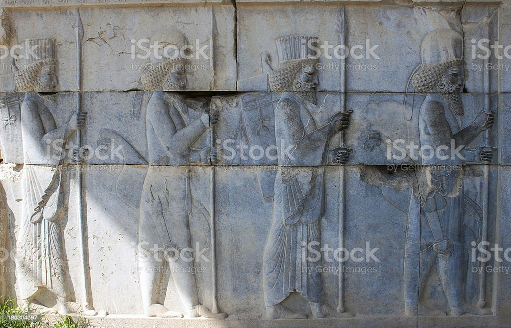 Bas-relief of 'Immortal' soldiers royalty-free stock photo