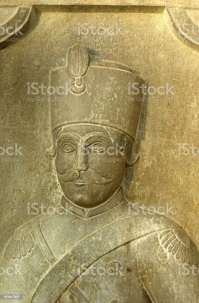 Bas-relief of Persian army officer stock photo