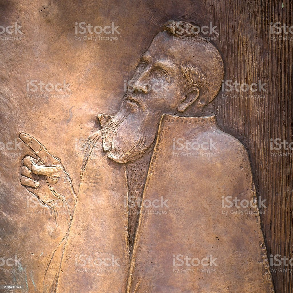 Bas-relief of Sacred Peter stock photo