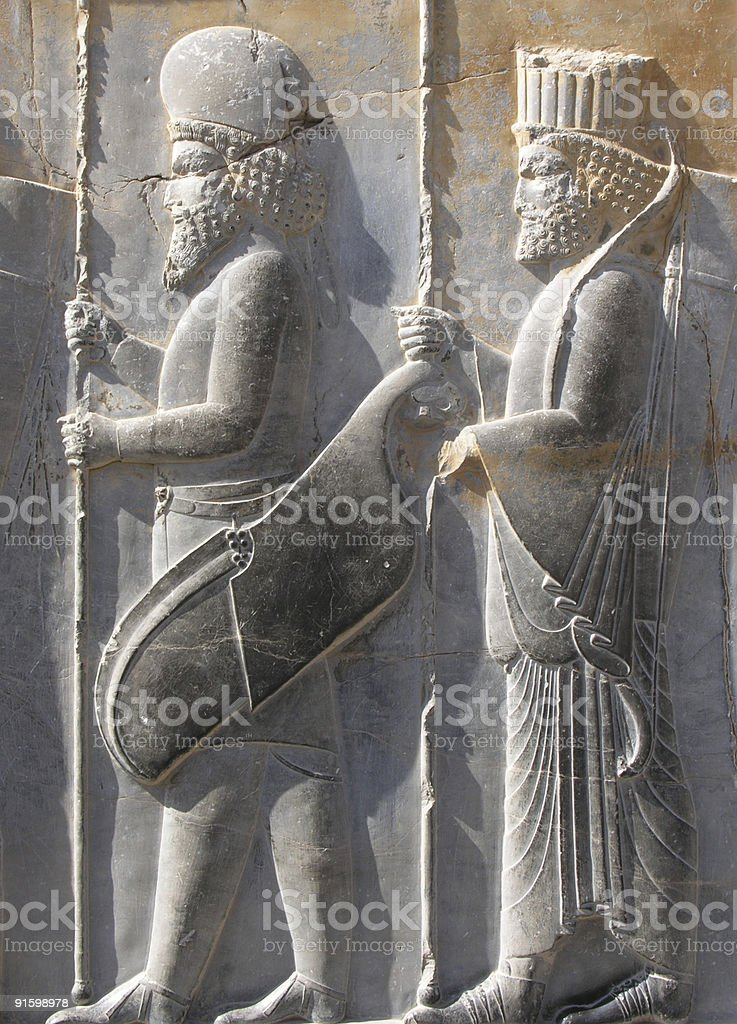 Bas-relief of soldiers at Persepolis stock photo