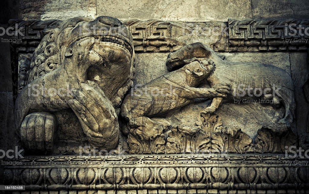 Bas-relief on church facade stock photo