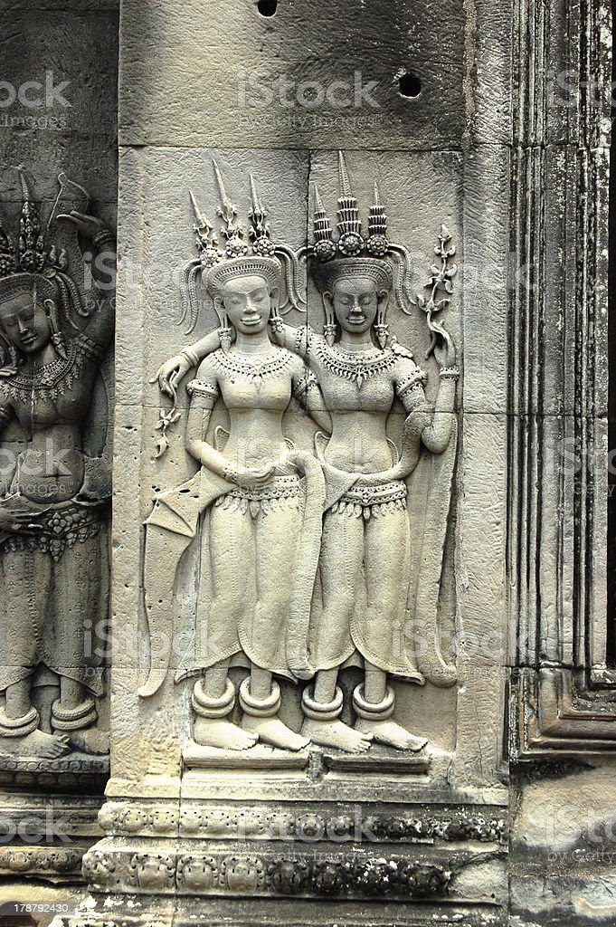 Bas-Relief Statue of Khmer Culture royalty-free stock photo