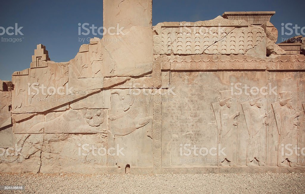 Bas-relief with fighting bull and lion, Persepolis stock photo