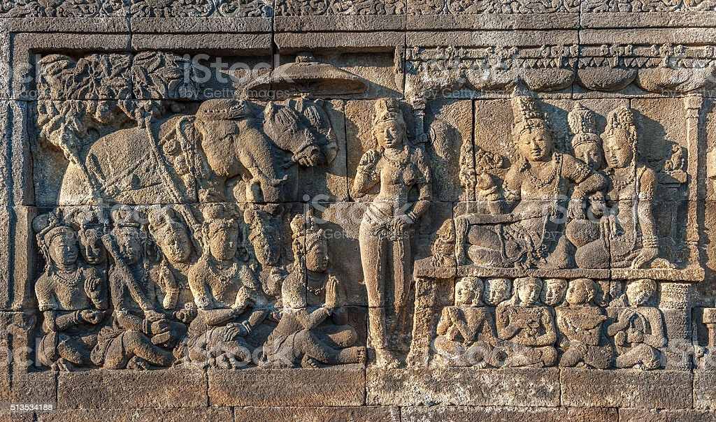 Bas-reliefs of Borobudur temple,  Java, Indonesia stock photo