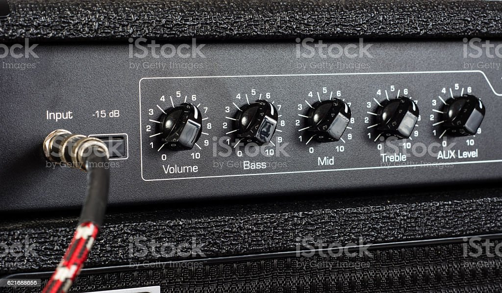 Bass Amplifier Control Knobs stock photo