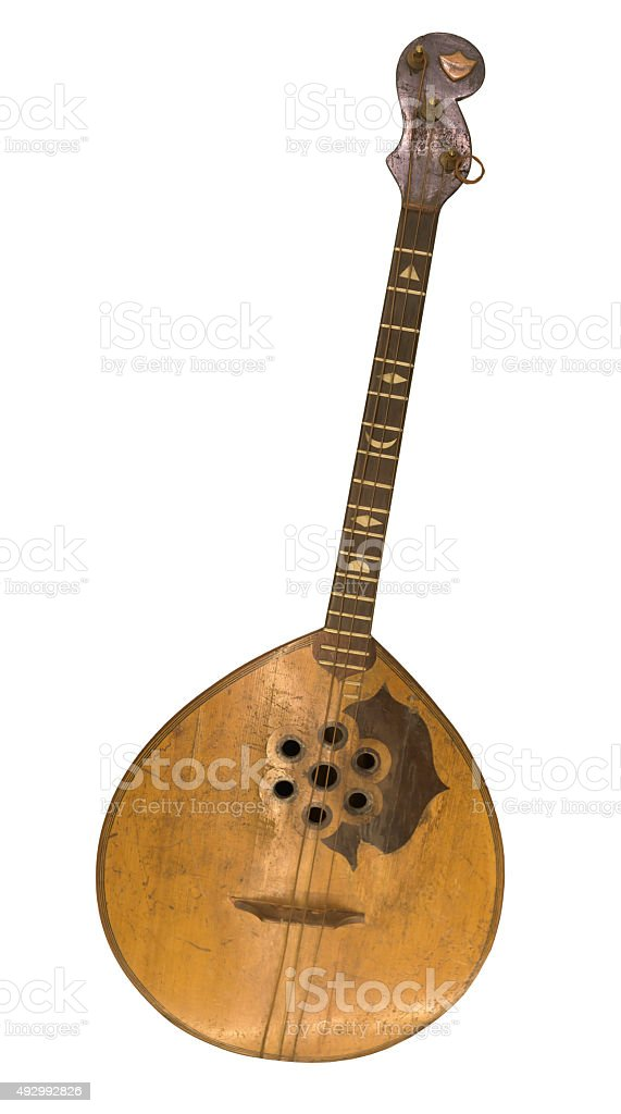 Bass domra. String plucked musical instrument stock photo