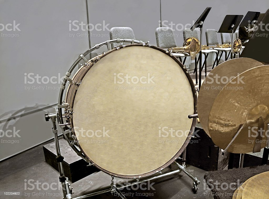 Bass Drum and Cymbals stock photo