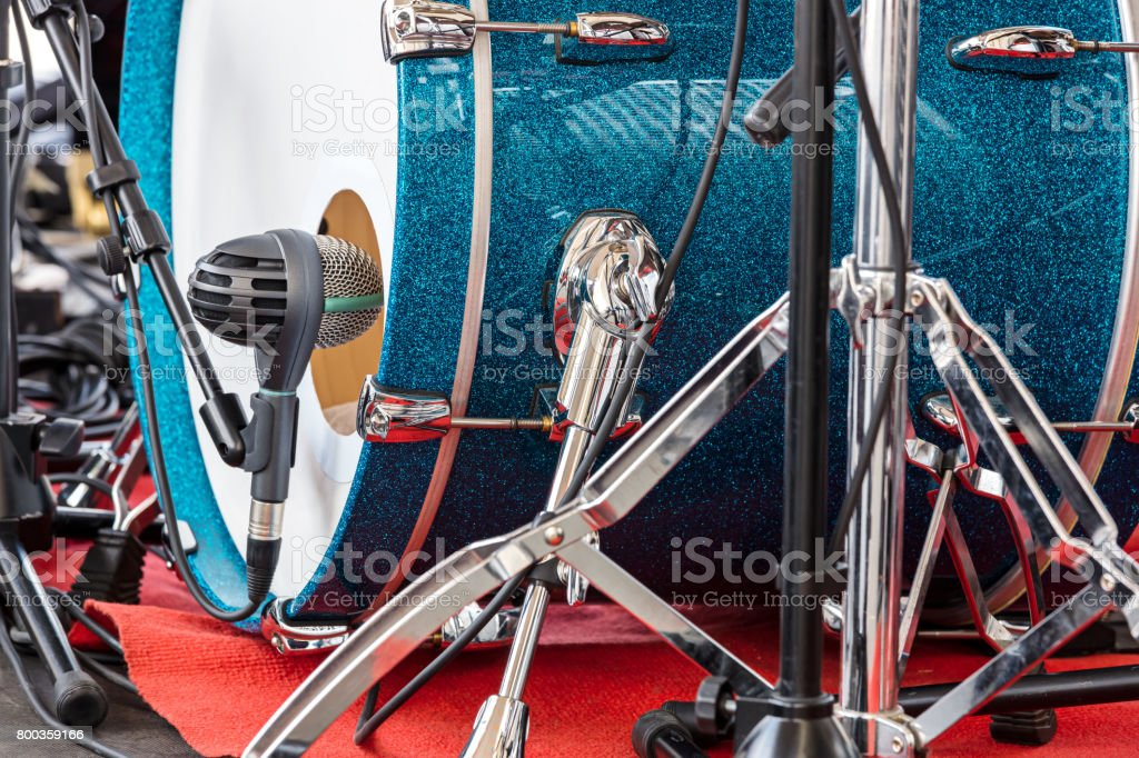 bass drum of drum set with on the open air concert closeup stock photo