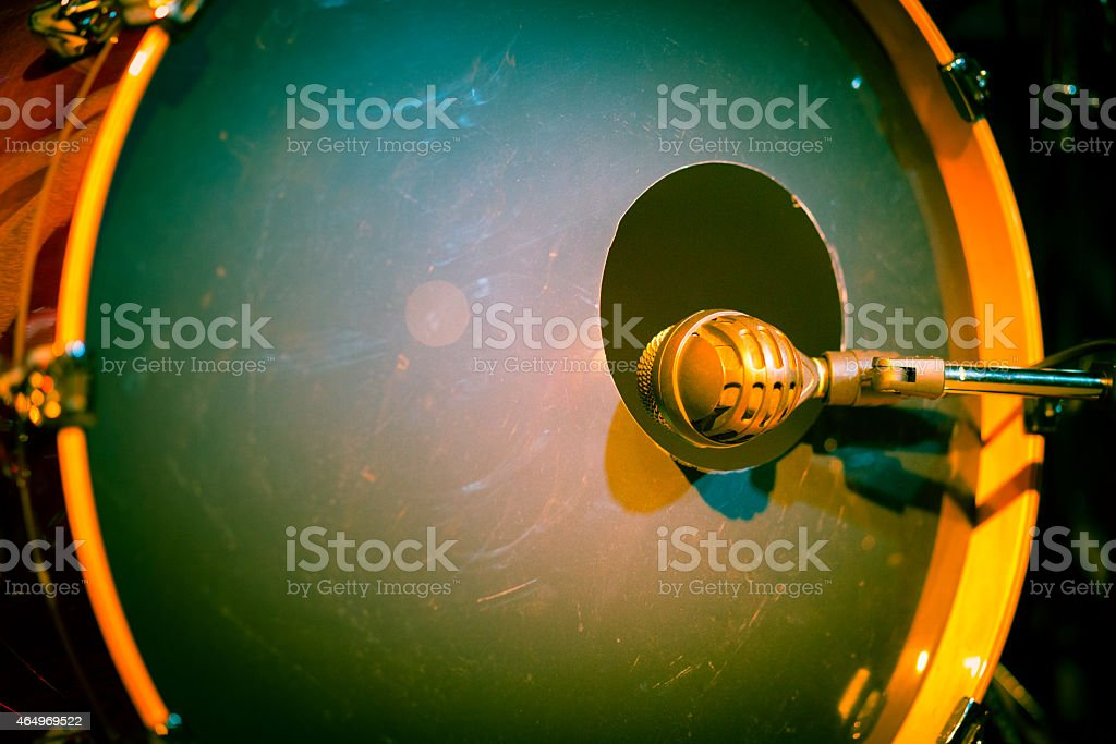 Bass Drum with microphone on stage close up stock photo