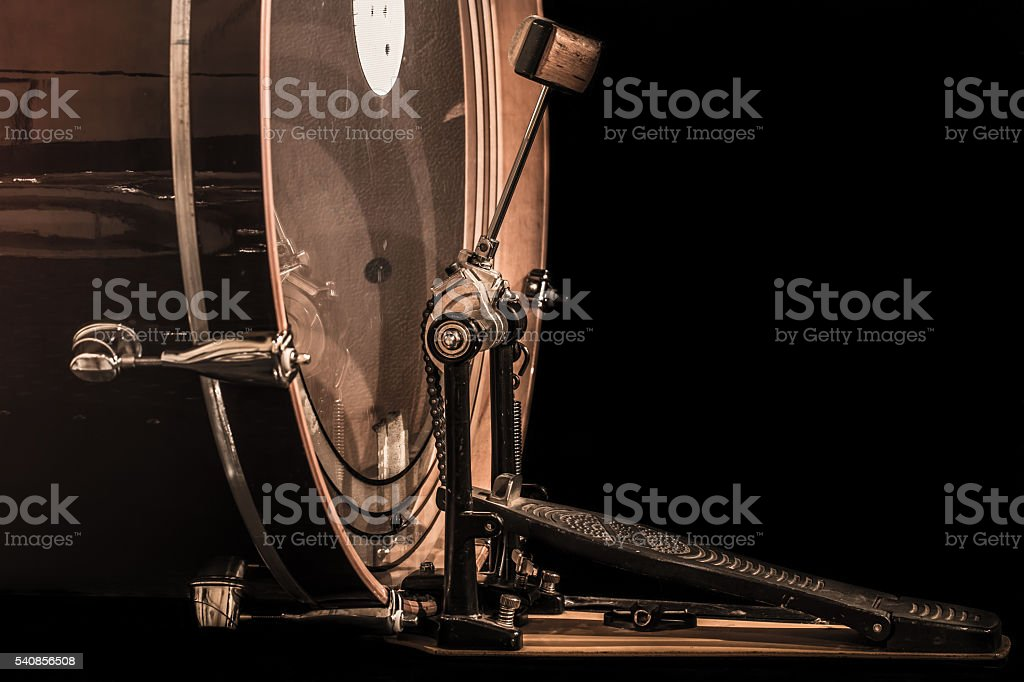 bass drum with pedal stock photo