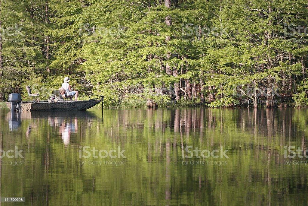 bass fishing in Texas stock photo
