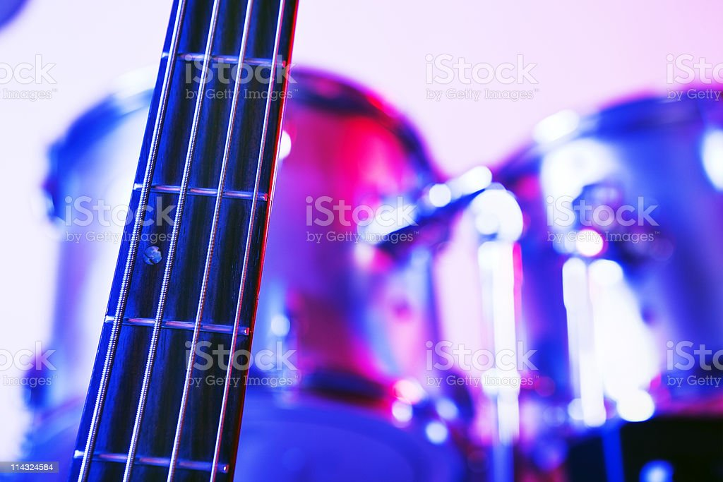 Bass guitar and drums stock photo