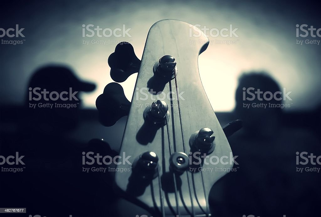 Bass guitar moody noir stock photo