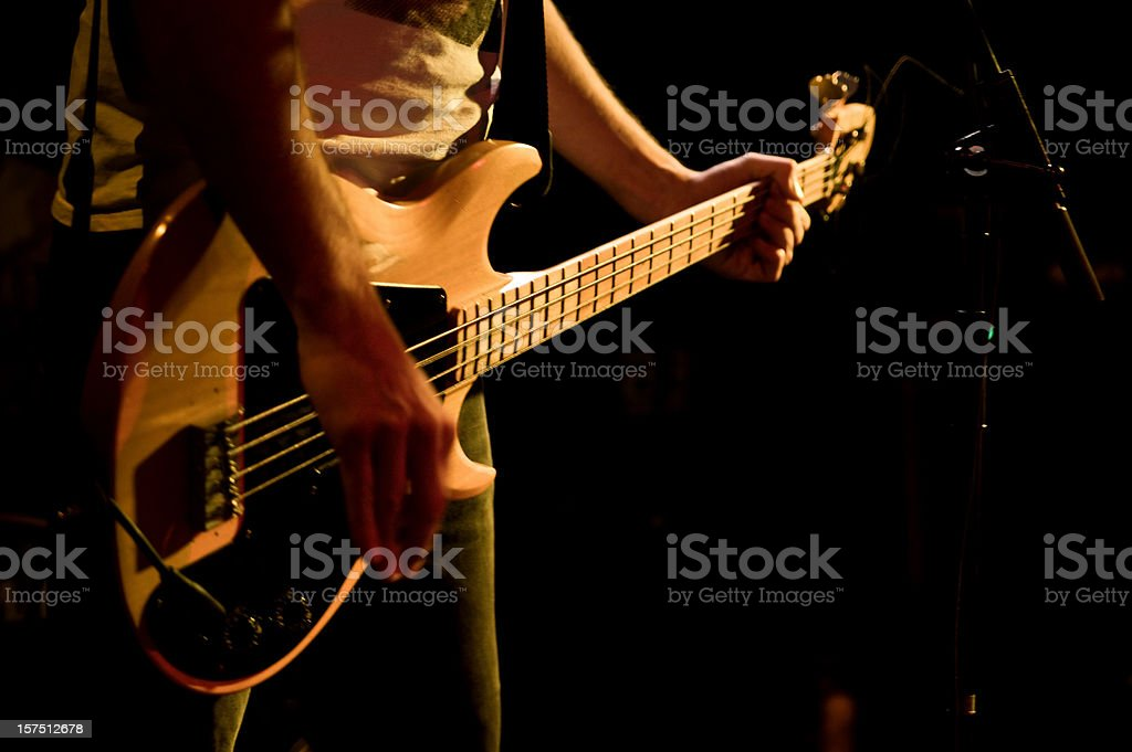 bass guitar player close up royalty-free stock photo