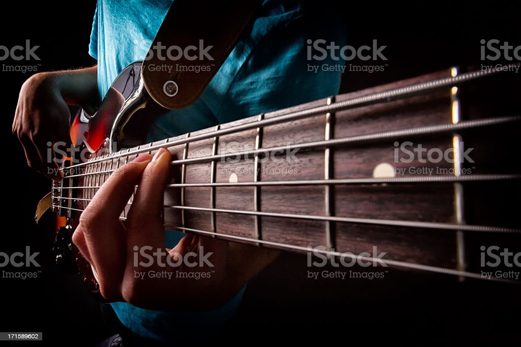 Bass Guitar Player stock photo