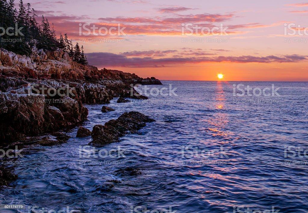 Bass Harbor Coast at Sunrise stock photo