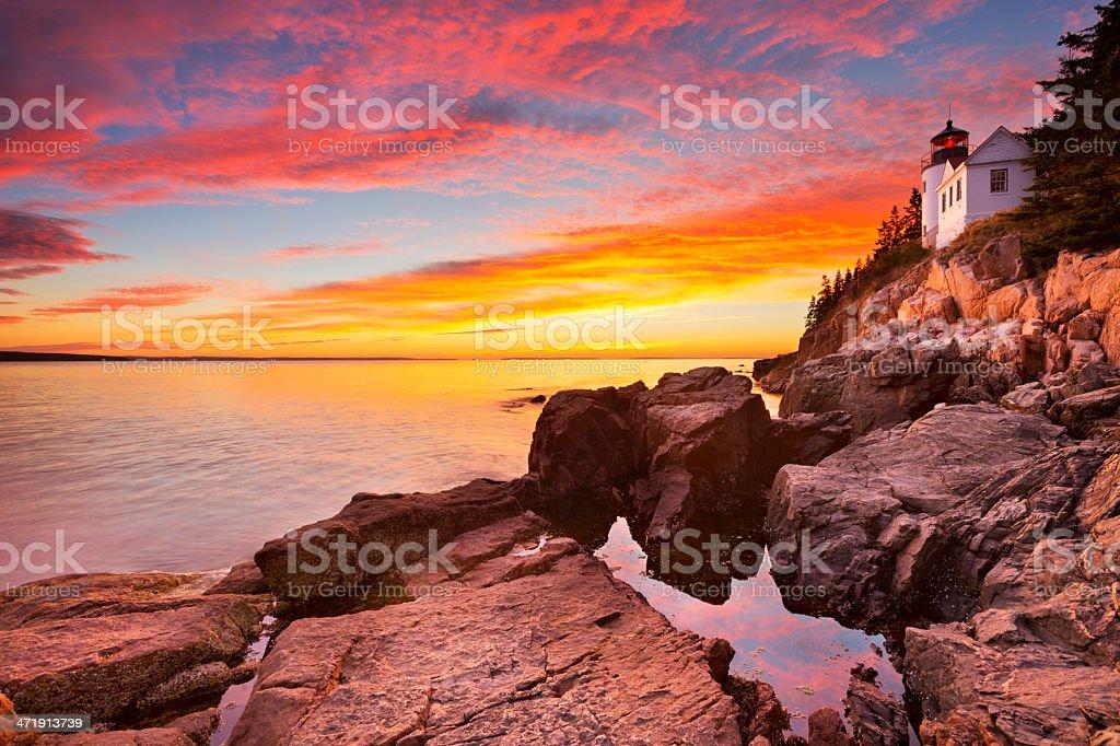 Bass Harbor Head Lighthouse, Acadia NP, Maine, USA at sunset stock photo