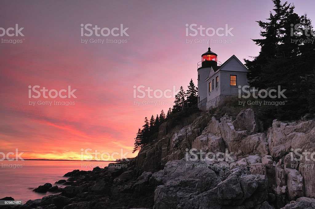 Bass Harbor Lighthouse at Sunset, Acadia National Park, Maine. stock photo