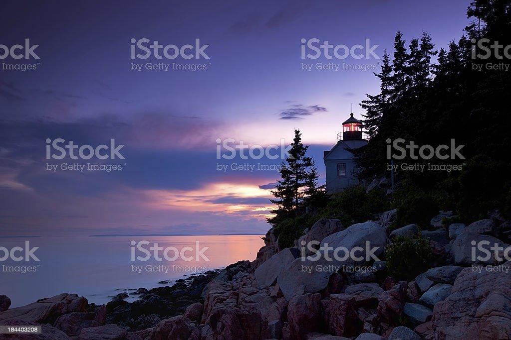 Bass Harbor Lighthouse at Sunset royalty-free stock photo