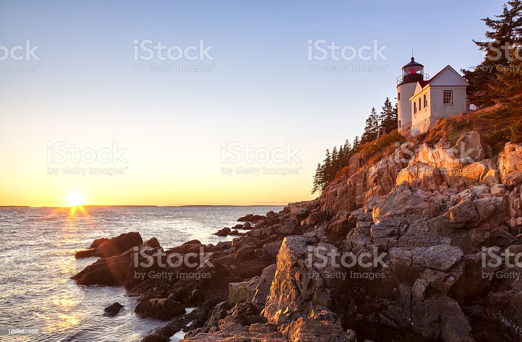 Bass Harbor lighthouse sunset, Acadia National Park, Maine stock photo