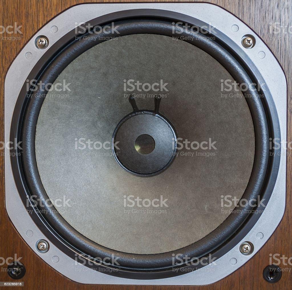 Bass loudspeaker close-up stock photo