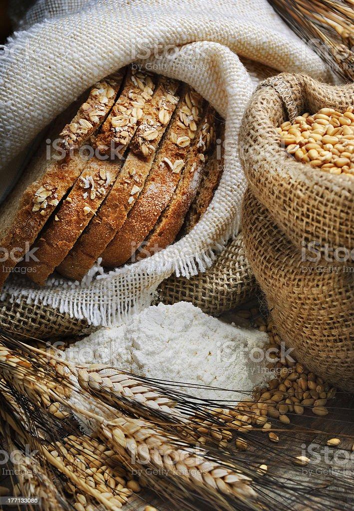 Bass of multi-grain bread, grain and wheat stock photo