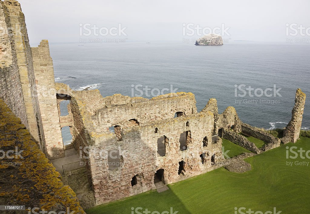 Bass Rock From Tantallon Castle Walls stock photo
