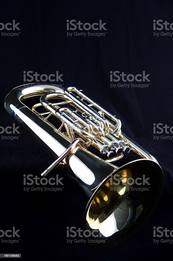Bass Tuba Euphonium on Black stock photo