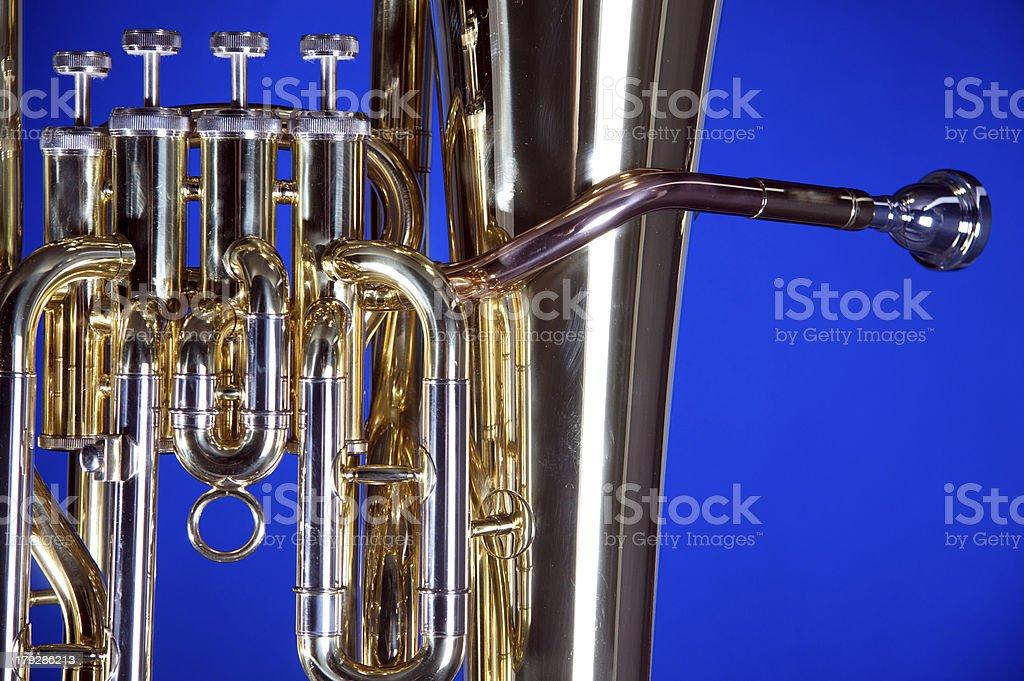 Bass Tuba Euphonium on Blue royalty-free stock photo