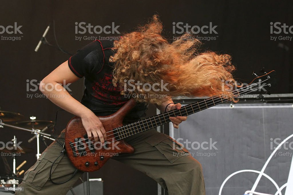 Bassist on stage royalty-free stock photo