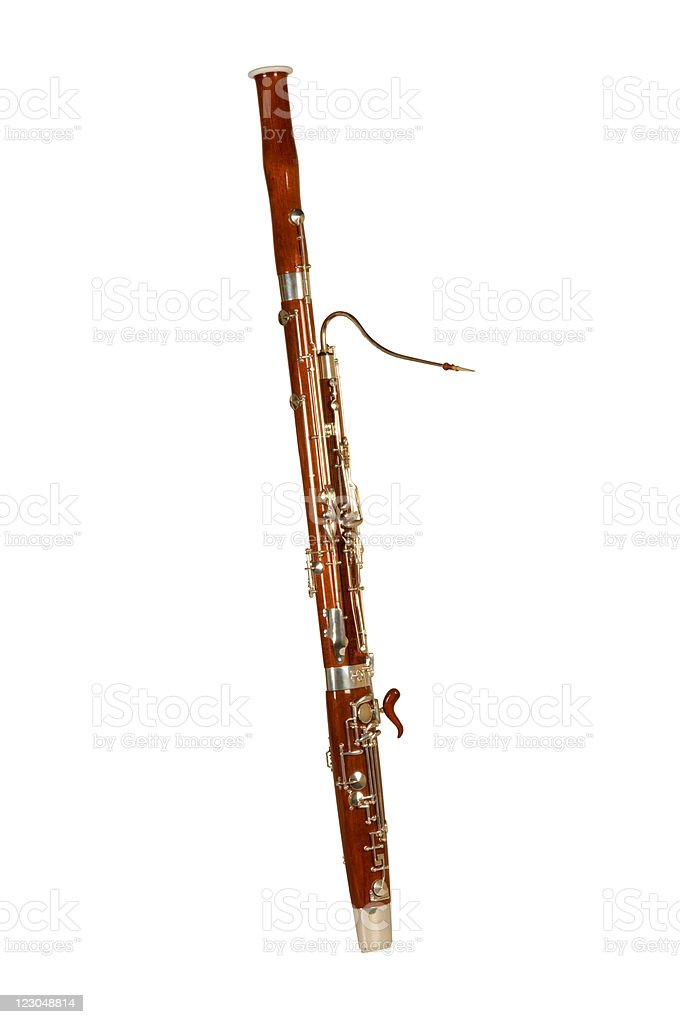 A bassoon alone on a white background royalty-free stock photo