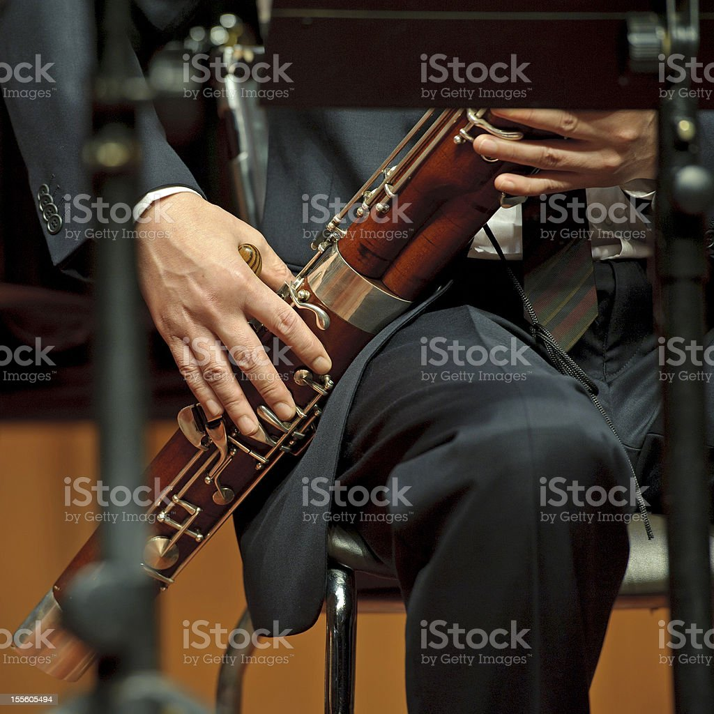 bassoonist on concert stock photo