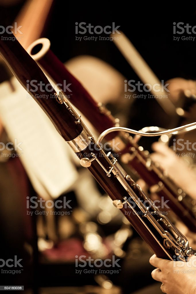 Bassoons in the orchestra stock photo