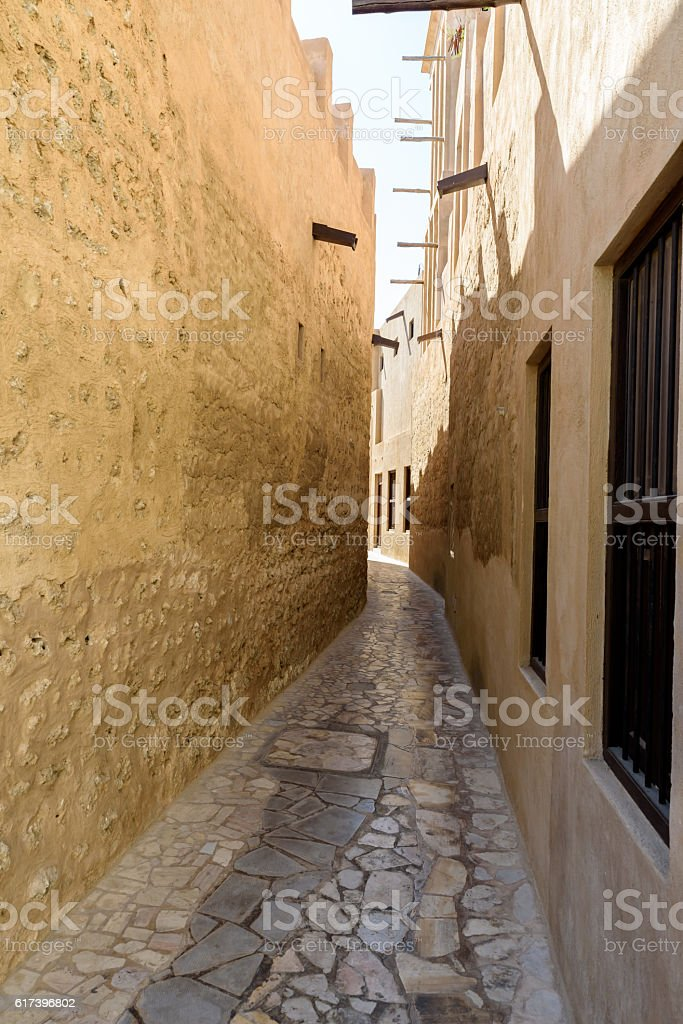 Bastakiya - old town with arabic architecture in Dubai, UAE stock photo