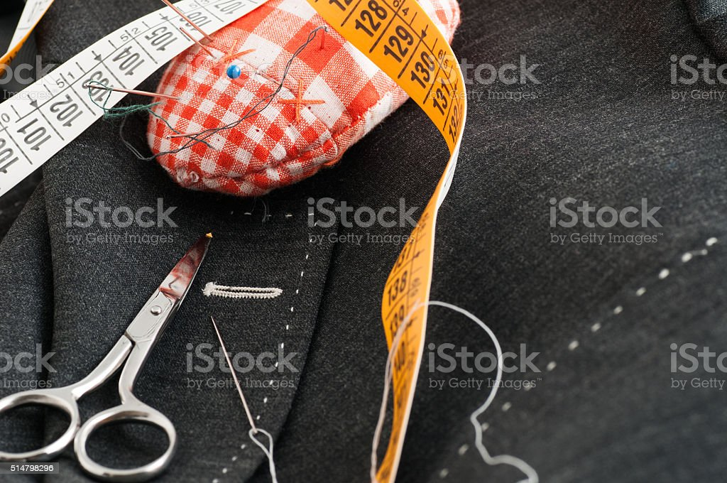 basted dress tailored stock photo