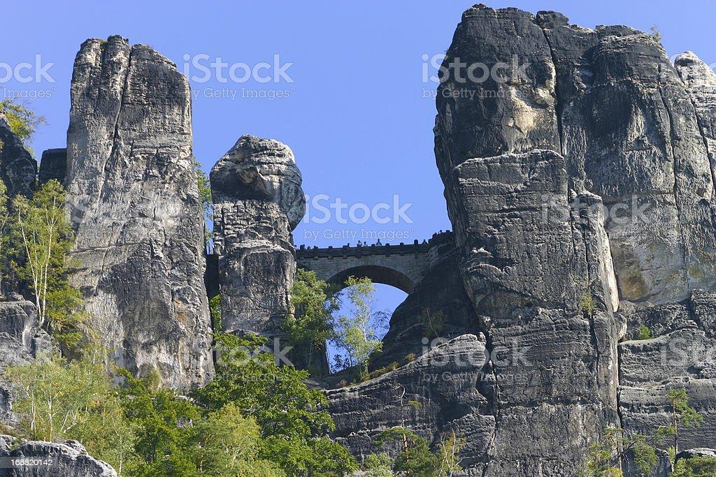 Bastei at Elbsandsteingebirge Saxony Germany stock photo