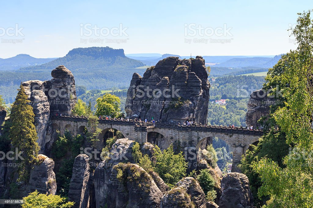 Bastei bridge and table mountain Lilienstein in Rathen, Saxon Switzerland stock photo