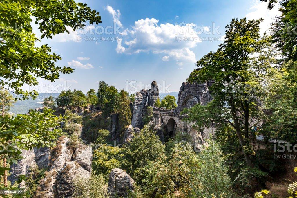 bastei bridge in saxon switzeland, germany stock photo