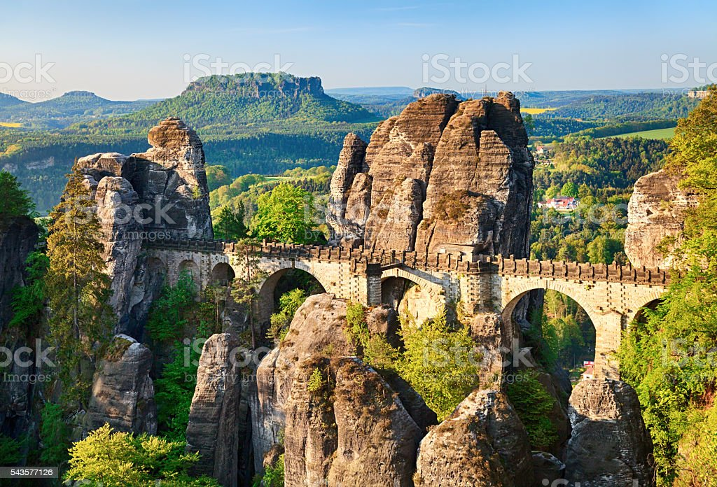 Bastei bridge in Saxon Switzerland, Germany stock photo