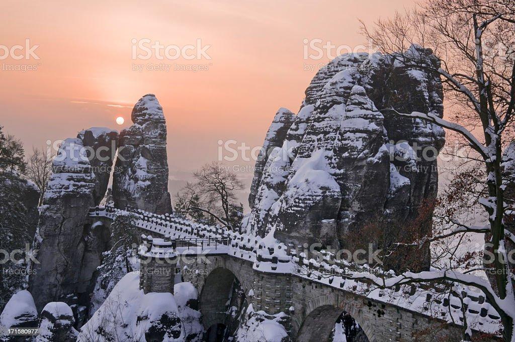 Bastei bridge in winter, Saxon Switzerland stock photo