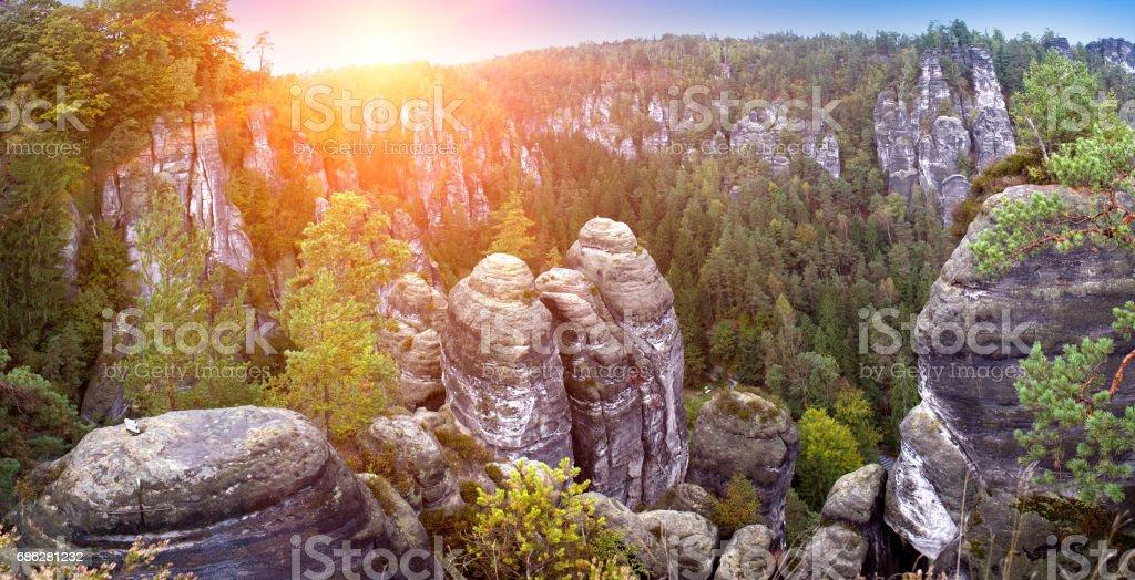 Bastei rock formation in Saxon Switzerland National Park, Germany stock photo