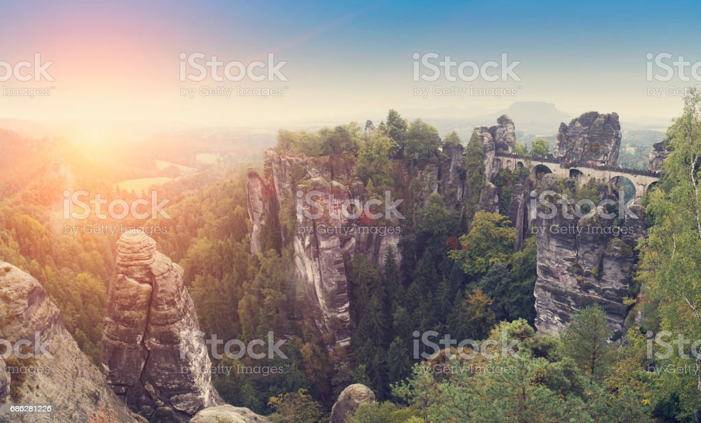 Bastei rocks and Bastei Bridge in Saxon Switzerland National Park, Germany, retro effect stock photo