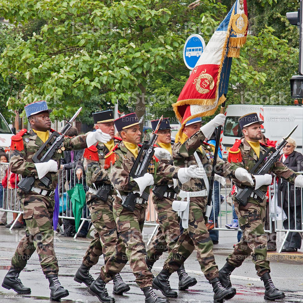 Bastille Day military ceremony in Lille, France stock photo
