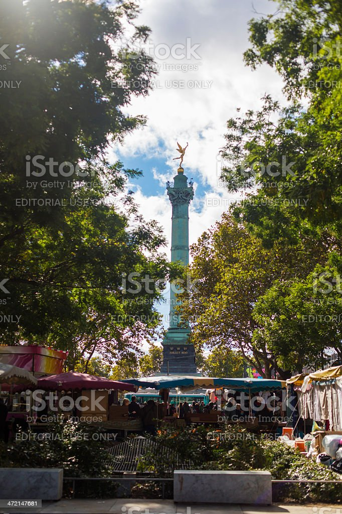 Bastille Monument and Markets stock photo