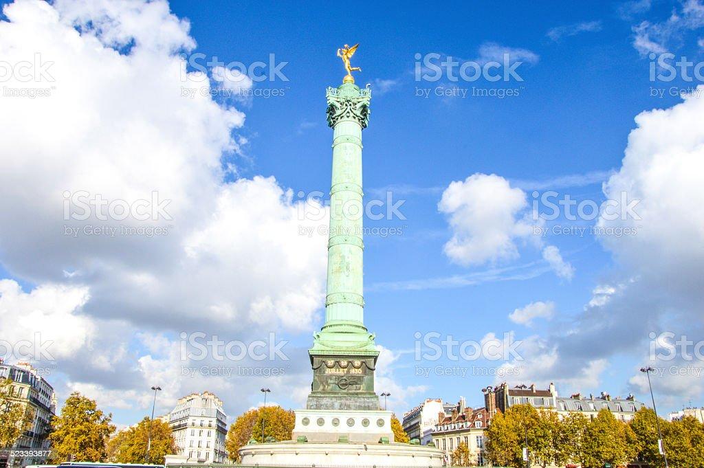 bastille square in Paris during summertime stock photo