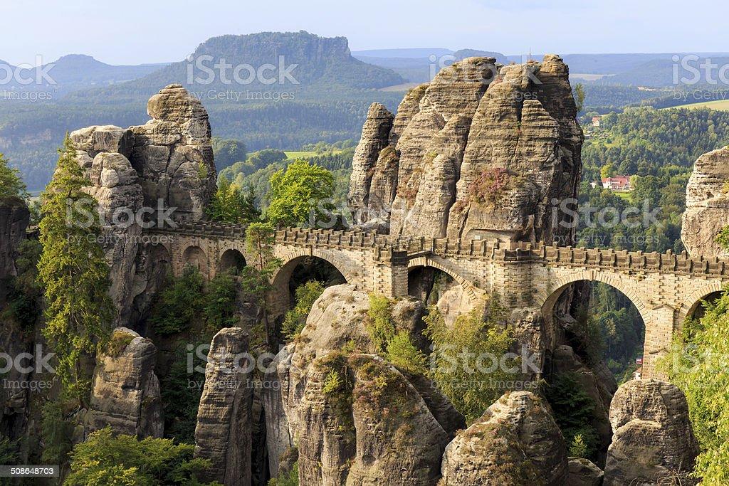 Bastion Bridge in Saxonia near Dresden stock photo