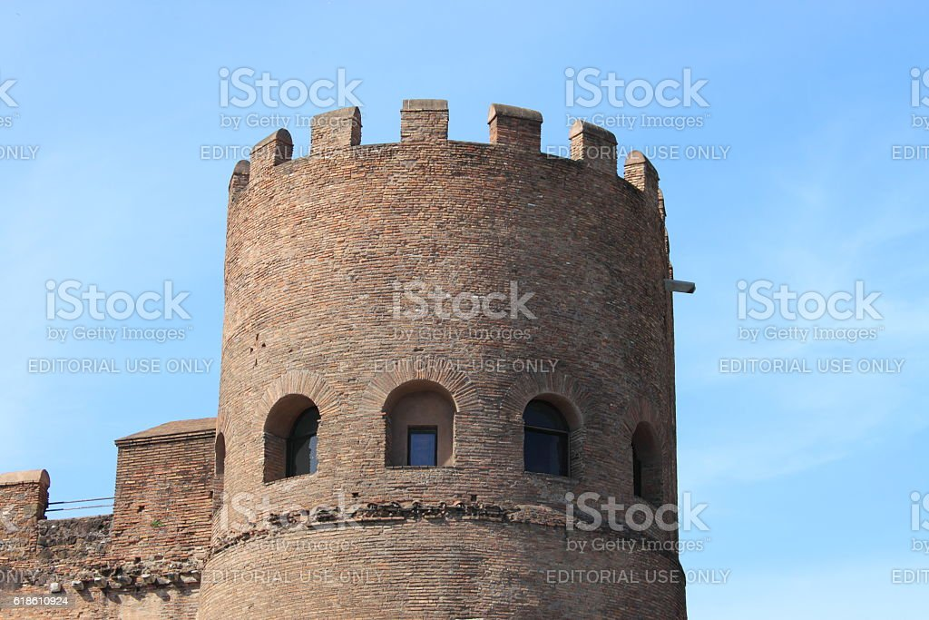Bastion in the Aurelian walls of Rome stock photo