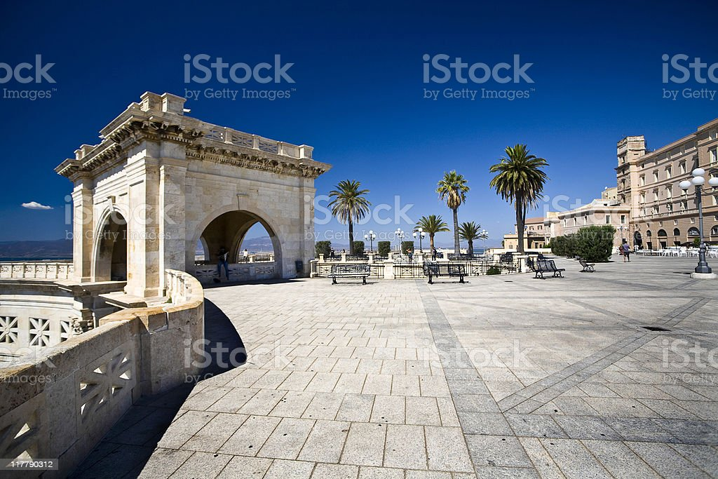Bastione Saint Remy, Cagliari stock photo