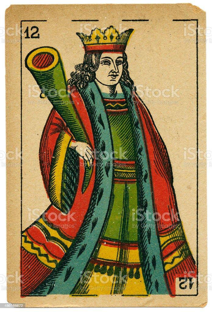 Bastos king playing card baraja 19th century 1878 stock photo