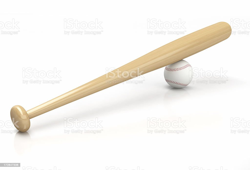 3D Bat and ball of Baseball stock photo
